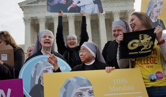 Nuns with the Little Sisters of the Poor had to fight the Obama administration over a law requiring their health care plans to provide coverage for contraceptives. (Associated Press) ** FILE **