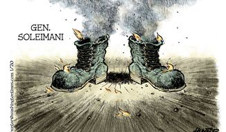 Iranian boots on the ground (Illustration by Alexander Hunter for The Washington Times)