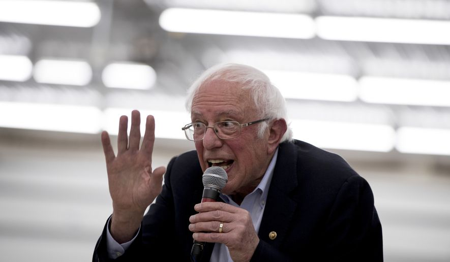 Democratic presidential candidate Sen. Bernie Sanders, I-Vt., speaks at a rally at the Winneshiek County Fairgrounds, Friday, Jan. 3, 2020, in Decorah, Iowa. (AP Photo/Andrew Harnik)