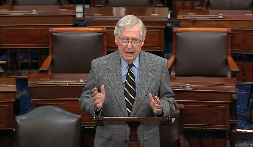 Senate Majority Leader Mitch McConnell of Ky., speaks on the Senate floor, Friday, Jan. 3, 2020 at the Capitol in Washington. (Senate TV via AP)