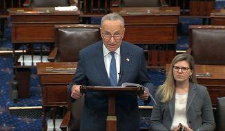 Senate Minority Chuck Schumer of N.Y., speaks on the Senate floor, Friday, Jan. 3, 2020 at the Capitol in Washington. (Senate TV via AP)