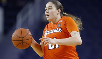 FILE - In this Dec. 5, 2019, file photo, Syracuse's Emily Engstler plays against Michigan during an NCAA women's college basketball game in Ann Arbor, Mich. Engstler hit the winning layup at the overtime buzzer to upset unbeaten Florida State 90-89, Thursday, Jan. 2, 2020, in Syracuse, N.Y. (AP Photo/Al Goldis, File)