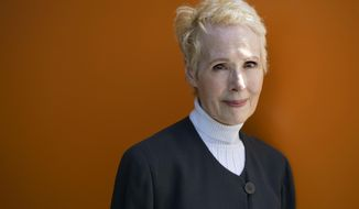 FILE - In this June 23, 2019 file photo, E. Jean Carroll is photographed in New York. President Donald Trump's lawyers asked a judge Friday, Jan. 3, 2020 to throw out an advice columnist's defamation lawsuit over his response to her allegation that he raped her in the 1990s. Trump's lawyers argue E. Jean Carroll's suit can't go forward in a New York state court because his statements were made in Washington.  (AP Photo/Craig Ruttle, File)