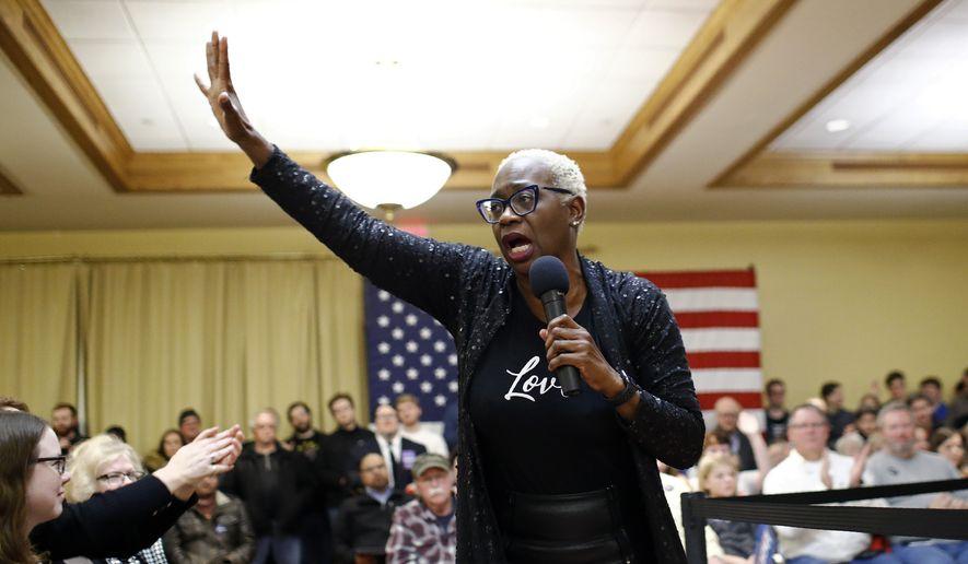 Former Ohio state Sen. Nina Turner introduces Democratic presidential candidate Sen. Bernie Sanders, I-Vt., during a campaign event, Saturday, Jan. 4, 2020, in Mason City, Iowa. (AP Photo/Patrick Semansky) ** FILE **