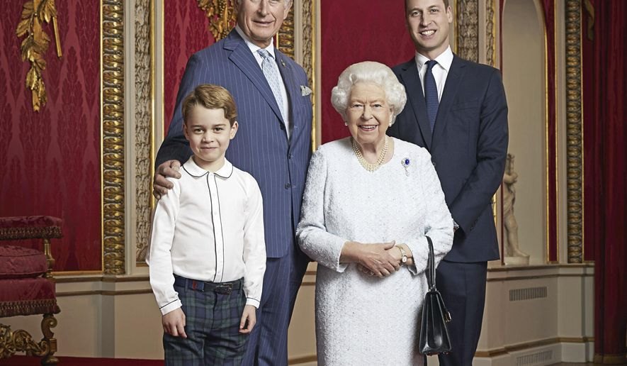 In this handout photo provided by Buckingham Palace and taken Wednesday Dec. 18, 2019, Britain's Queen Elizabeth, Prince Charles, Prince William and Prince George pose for a photo to mark the start of the new decade in the Throne Room of Buckingham Palace, London. This is only the second time such a portrait of the monarch and the next three in line to the throne has been released, the first was in April 2016 to celebrate Her Majesty's 90th birthday. (Ranald Mackechnie/Buckingham Palace via AP)
