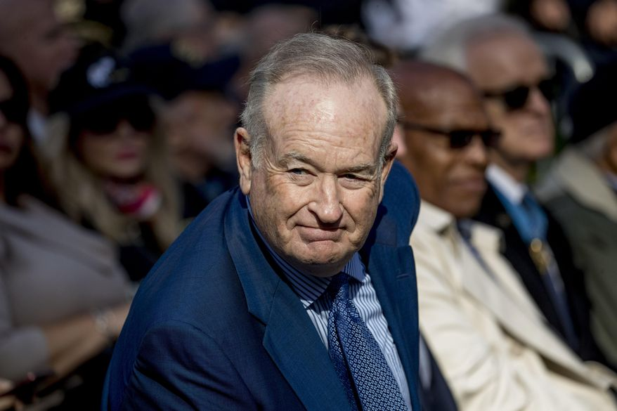 In this Nov. 11, 2019, photo, Bill O'Reilly (left) arrives before President Donald Trump and first lady Melania Trump participate in a wreath laying ceremony at the New York City Veterans Day Parade at Madison Square Park in New York. (AP Photo/Andrew Harnik) **FILE**