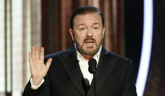 This image released by NBC shows host Ricky Gervais speaking at the 77th Annual Golden Globe Awards at the Beverly Hilton Hotel in Beverly Hills, Calif., on Sunday, Jan. 5, 2020. (Paul Drinkwater/NBC via AP)