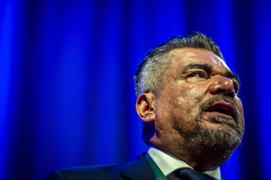 Actor/comedian George Lopez addresses the crowd after being inducted to the California Hall of Fame at the California Museum in downtown Sacramento, Calif., on Tuesday, Dec. 10, 2019. (Daniel Kim/The Sacramento Bee via AP, Pool)