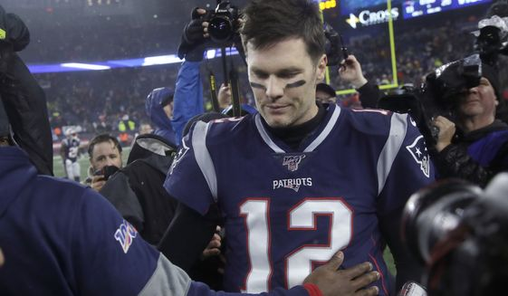 New England Patriots quarterback Tom Brady leaves the field after losing to the Tennessee Titans in an NFL wild-card playoff football game, Saturday, Jan. 4, 2020, in Foxborough, Mass. (AP Photo/Elise Amendola) ** FILE **