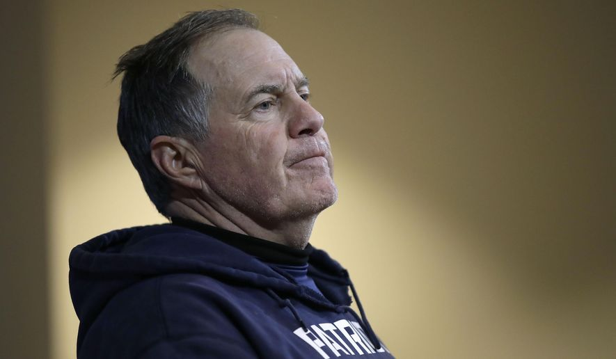 New England Patriots head coach Bill Belichick speaks to the media following an NFL wild-card playoff football game against the Tennessee Titans, Saturday, Jan. 4, 2020, in Foxborough, Mass. (AP Photo/Elise Amendola)