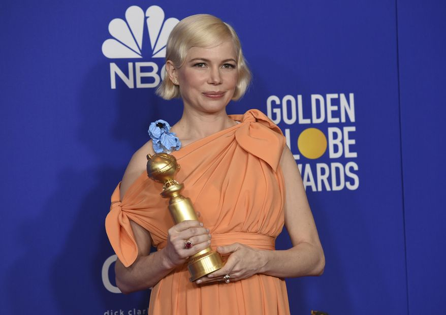 "Michelle Williams poses in the press room with the award for best television performance by an actress in a limited series or a motion picture made for television for ""Fosse/Verdon"" at the 77th annual Golden Globe Awards at the Beverly Hilton Hotel on Sunday, Jan. 5, 2020, in Beverly Hills, Calif. (AP Photo/Chris Pizzello)"