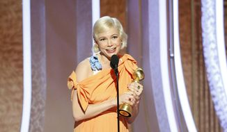 """This image released by NBC shows Michelle Williams accepting the award for best actress in a limited series or TV movie for her role in """"Fosse/Verdon"""" at the 77th Annual Golden Globe Awards at the Beverly Hilton Hotel in Beverly Hills, Calif., on Sunday, Jan. 5, 2020. (Paul Drinkwater/NBC via AP)"""