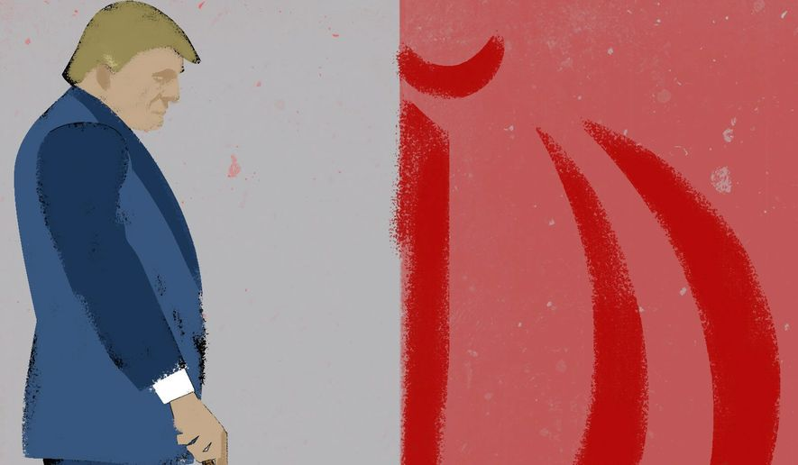 Illustration on upping the response ante with Iran by Linas Garsys/The Washington Times
