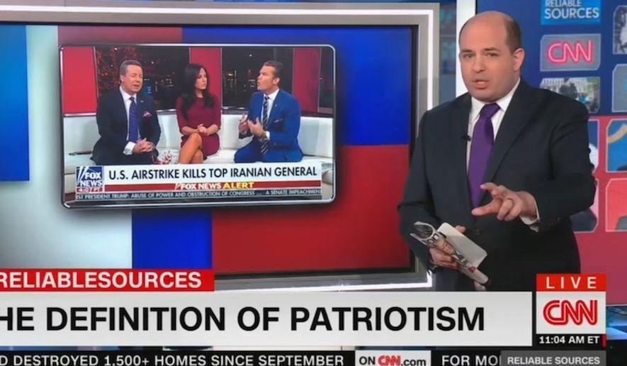 CNN's Brian Stelter talks about the definition of patriotism, Jan. 5, 2020. (Image: CNN video screenshot)