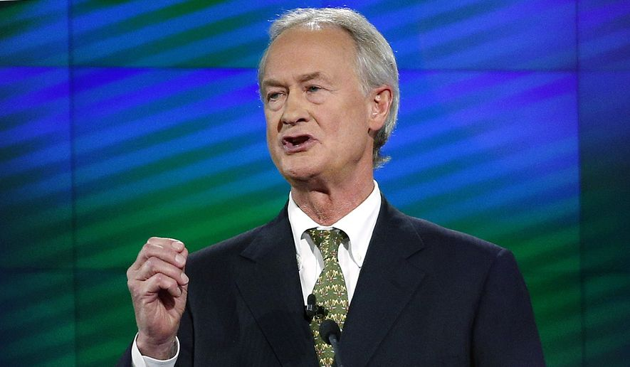 In this Oct. 13, 2015, file photo, former Rhode Island Gov. Lincoln Chafee speaks during a Democratic presidential debate in Las Vegas. Former Democratic presidential candidate Chafee filed to run for president as a Libertarian. Chafee on Sunday, Jan. 5, 2020, registered the Lincoln Chafee For President campaign committee with the Federal Election Commission, online records showed. (AP Photo/John Locher, File)