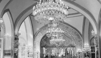 This Oct. 27, 1960 file photo, shows a partial view of the Throne Hall of the Royal Golestan Palace, in Tehran, Iran. Iran's cultural sites has become a potential U.S. military target (AP Photo/Jim Pringle, File)