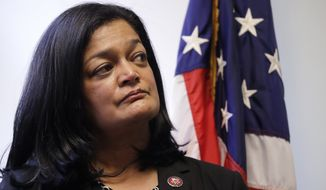 Rep. Pramila Jayapal, D-Wash., looks on at a news conference in her office Monday, Jan. 6, 2020, in Seattle. (AP Photo/Elaine Thompson) **FILE**