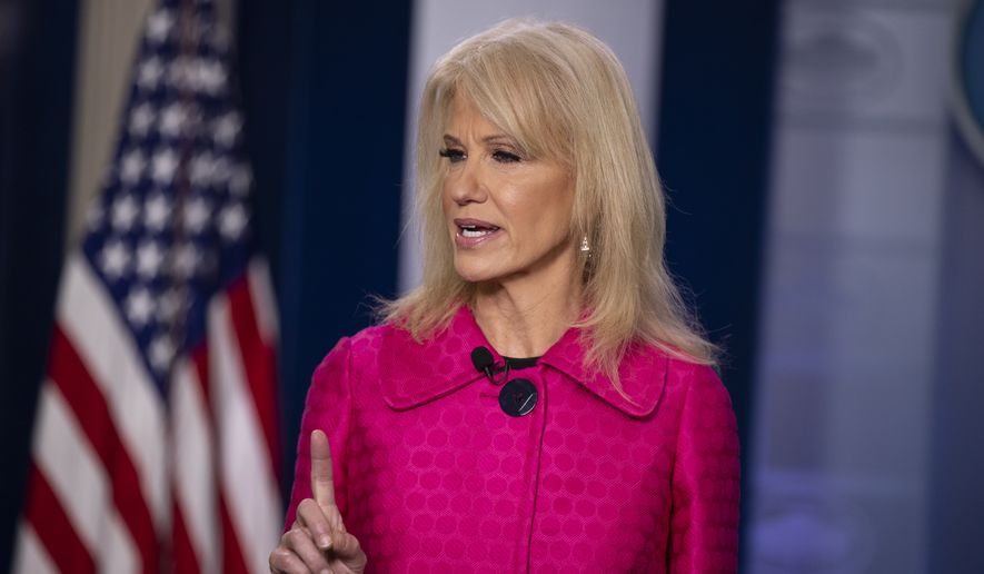 White House counselor Kellyanne Conway talks to reporters at the White House, Monday, Jan. 6, 2020, in Washington. (AP Photo/ Evan Vucci)