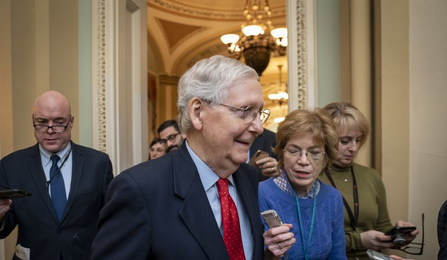 Senate Majority Leader Mitch McConnell, R-Ky., is surrounded by reporters after remarks on the floor about the looming impeachment trial of President Donald Trump and Trump's order to kill an Iranian general, at the Capitol in Washington, Monday, Jan. 6, 2020. (AP Photo/J. Scott Applewhite)
