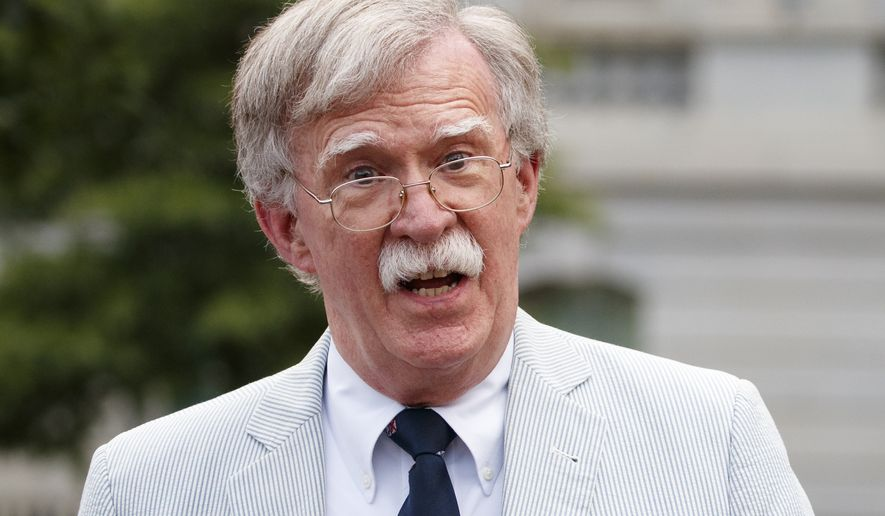 In this July 31, 2019, file photo, then-National Security Adviser John Bolton speaks to media at the White House in Washington. (AP Photo/Carolyn Kaster)