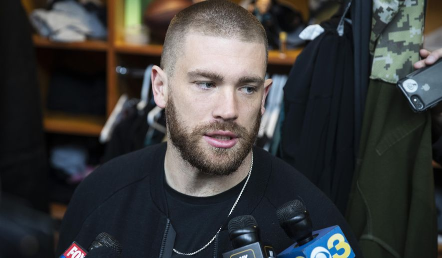 Philadelphia Eagles tight end Zach Ertz speaks with members of the media at the NFL football team's practice facility in Philadelphia, Monday, Jan. 6, 2020. The Eagles ended their season with a 17-9 loss to the Seattle Seahawks on Sunday. (AP Photo/Matt Rourke)