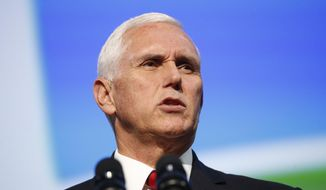 In this Oct. 21, 2019, file photo, Vice President Mike Pence speaks at the opening ceremony of the International Astronautical Congress, in Washington. (AP Photo/Patrick Semansky, File)