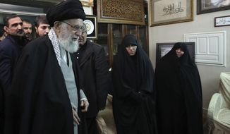 "In this picture released by the official website of the office of the Iranian supreme leader, Supreme Leader Ayatollah Ali Khamenei meets family of Iranian Revolutionary Guard Gen. Qassem Soleimani, who was killed in the U.S. airstrike in Iraq, at his home in Tehran, Iran, Friday, Jan. 3, 2020. Iran has vowed ""harsh retaliation"" for the U.S. airstrike near Baghdad's airport that killed Tehran's top general and the architect of its interventions across the Middle East. (Office of the Iranian Supreme Leader via AP)"