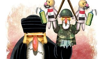 Iran Mullah and puppets Illustration by Alexander Hunter/The Washington Times