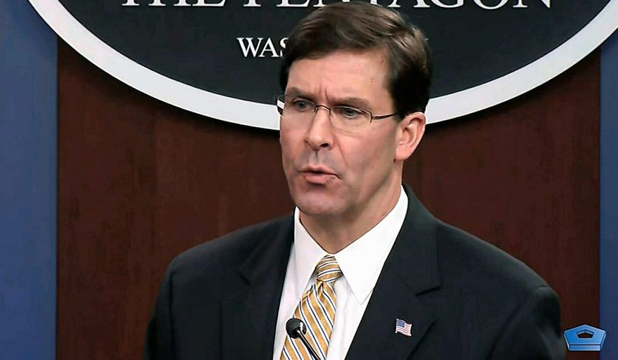 """""""We are not looking to start a war with Iran, but we are prepared to finish one,"""" Secretary of Defense Mark T. Esper said during an interview this week. (Associated Press)"""
