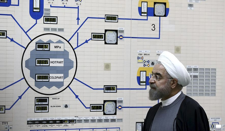In this Jan. 13, 2015, file photo, released by the Iranian President's Office, President Hassan Rouhani visits the Bushehr nuclear power plant just outside of Bushehr, Iran. (AP Photo/Iranian Presidency Office, Mohammad Berno, File)