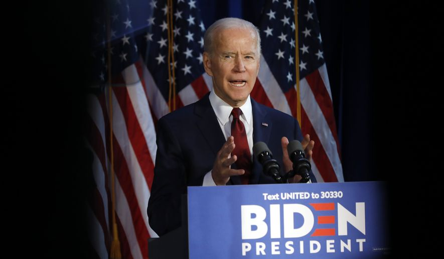 Democratic presidential candidate former Vice President Joe Biden makes a foreign policy statement, in New York, Tuesday, Jan. 7, 2020. (AP Photo/Richard Drew)