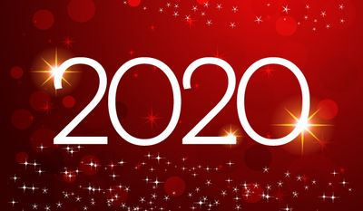 Happy New Year 2020 vector design. Cover of business for 202. Brochure design template, card, banner. Vector illustration. Isolated on white background. Happy New Year