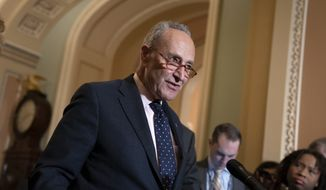 Senate Minority Leader Chuck Schumer, D-N.Y., speaks to reporters at the Capitol in Washington, Tuesday, Jan. 7, 2020. (AP Photo/J. Scott Applewhite) ** FILE **