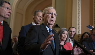 Senate Majority Leader Mitch McConnell, R-Ky., joined from left by Sen. John Barrasso, R-Wyo., Majority Whip John Thune, R-S.D., and Sen. Joni Ernst, R-Iowa, speak to reporters at the Capitol in Washington, Tuesday, Jan. 7, 2020. (AP Photo/J. Scott Applewhite) ** FILE **