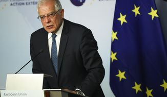 European Union foreign policy chief Josep Borrell answers a question during a news conference in Brussels, Tuesday, Jan. 7, 2020. Borrell met Tuesday with the Foreign Affairs Minister's of Britain, Italy, Germany and France where they were expected to hold talks about the current situation in Libya and Iran. (AP Photo/Francisco Seco)