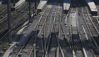 Empty platform are pictured at the Gare Saint Lazare train station during 33rd day of transport strikes in Paris, Monday, Jan. 6, 2020. French President Emmanuel Macron is preparing to launch a crucial week of negotiations with labor unions amid nationwide protests and transport strikes against the government's plans to overhaul the pension system. (AP Photo/Michel Euler)