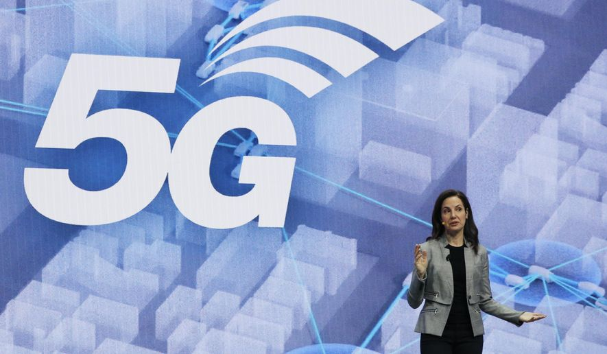 Emily Becher, senior vice president head of Samsung NEXT Global, speaks about 5G interconnected cities during a Samsung keynote before the CES tech show, Monday, Jan. 6, 2020, in Las Vegas. (AP Photo/John Locher)