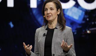 Emily Becher, senior vice president head of Samsung NEXT Global, speaks during a Samsung keynote before the CES tech show, Monday, Jan. 6, 2020, in Las Vegas. (AP Photo/John Locher)