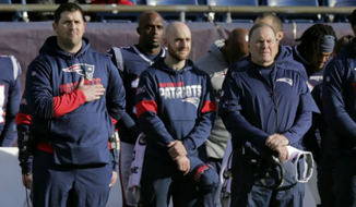Joe Judge (left) stands with New England Patriots assistant quarterback coach Mick Lombardi and head coach Bill Belichick before an NFL football game against the Miami Dolphins, Sunday, Dec. 29, 2019, in Foxborough, Mass. The New York Giants hired Judge to be their head coach on Tuesday, Jan. 7, 2019. (AP Photo/Charles Krupa) ** FILE **
