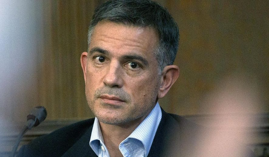 In this Dec. 4, 2019, file photo, Fotis Dulos is questioned during testimony in a civil case at Hartford Superior Court in Hartford, Conn., brought by Gloria Farber, the mother of Jennifer Farber Dulos, his estranged wife who disappeared in May. Dulos, was taken into custody by state police Tuesday, Jan. 7, 2020, in Farmington, Conn. Dulos' lawyer Norm Pattis says his client has been charged with murder in her disappearance. (Mark Mirko/Hartford Courant via AP, Pool, File)