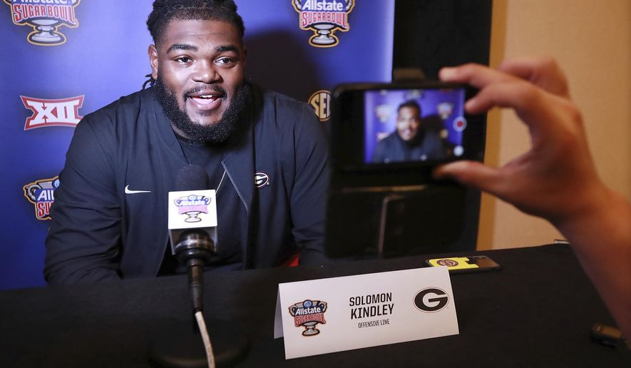 Georgia offensive lineman Solomon Kindley takes questions from the media during the Georgia Offense press conference for the Sugar Bowl against Baylor on Sunday, December 29, 2019, in New Orleans. (Curtis Compton/Atlanta Journal-Constitution via AP)