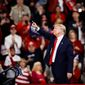 It's campaign rally season. President Trump shares a moment with the crowd during a recent campaign rally in Hershey, Pennsylvania. (Associated Press)
