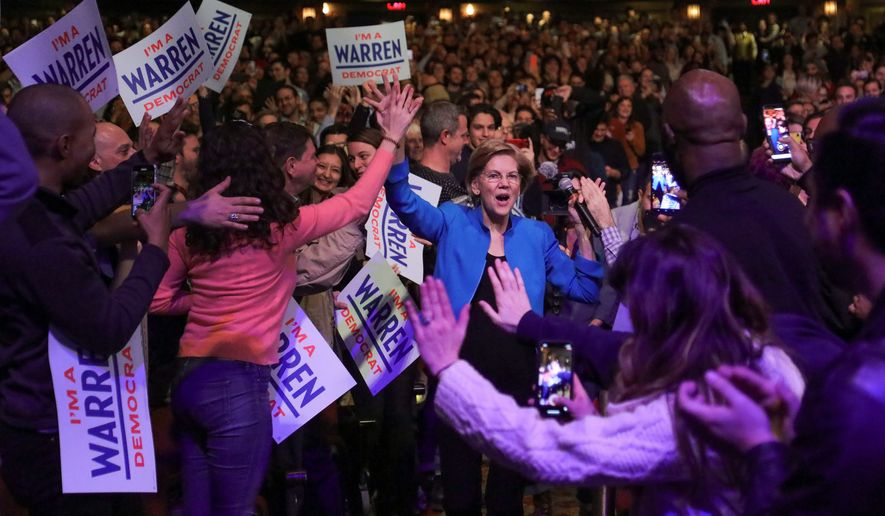 Democratic presidential candidate Sen. Elizabeth Warren of Massachusetts has fallen to fourth place in Iowa and New Hampshire. (Associated Press)