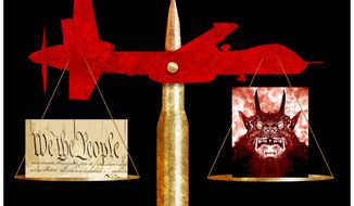 Illustration on weighing the rule of law in fighting evil by Alexander Hunter/The Washington Times