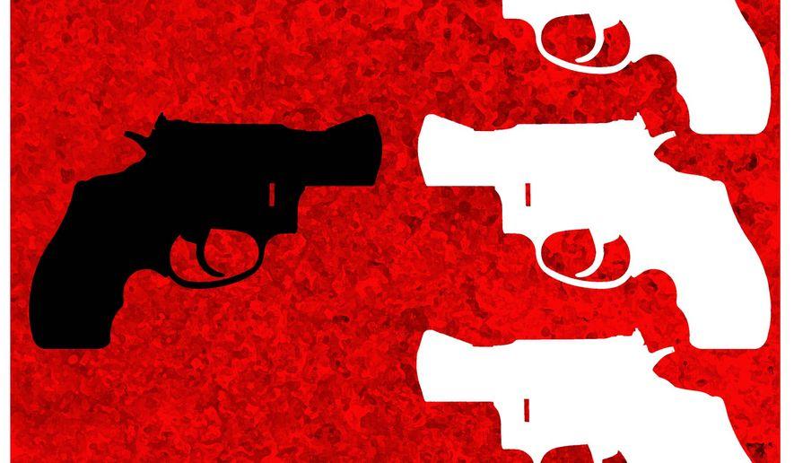 Illustration on gun self-defense by Alexander Hunter/The Washington Times