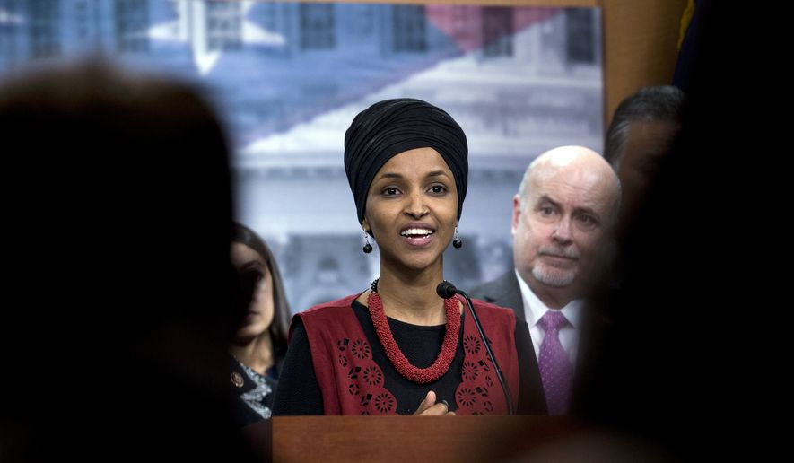 Congressional Progressive Caucus members Rep. Ilhan Omar, D-Minn., accompanied by Rep. Mark Pocan, D-Wis., and other members of the Caucus, speaks during a news conference on last week's targeted killing of Iran's senior military commander Gen. Qassem Soleimani on Capitol Hill, in Washington, Wednesday, Jan. 8, 2020. (AP Photo/Jose Luis Magana)