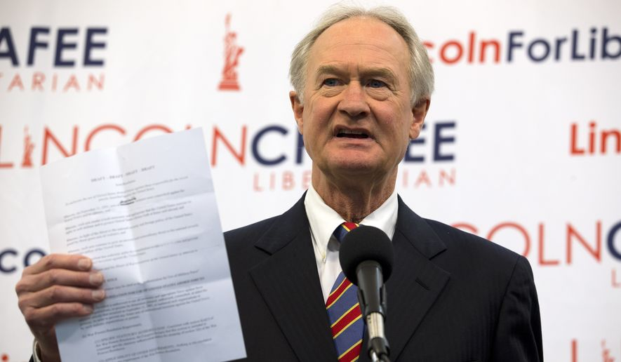 Libertarian presidential candidate and former Rhode Island Governor Lincoln Chafee speaks during a news conference at the Press Club in Washington, Wednesday, Jan. 8, 2020. (AP Photo/Jose Luis Magana)