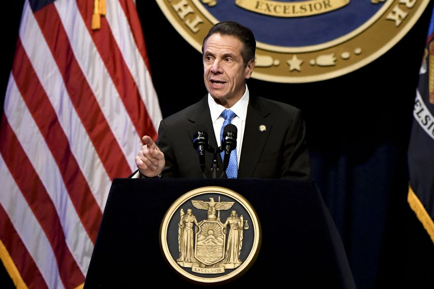New York Gov. Andrew Cuomo delivers his State of the State address at the Empire State Plaza Convention Center on Wednesday, Jan. 8, 2020, in Albany, N.Y. (AP Photo/Hans Pennink) ** FILE **
