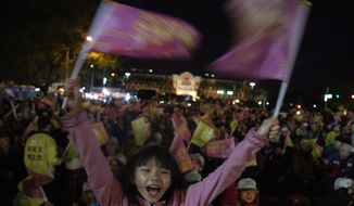 In this Wednesday, Jan. 8, 2020, photo, supporters of Tsai Ing-wen, Taiwan's President and the 2020 presidential election candidate for the Democratic Progressive Party (DPP), cheer during an election campaign rally in northern Taiwan's Hsinchu province. A year ago, the Taiwan leader was on the ropes. Now President Tsai appears poised to win a second four-year term in elections this Saturday. (AP Photo/Ng Han Guan)