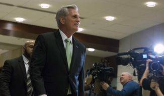 House Republican Leader Kevin McCarthy, R-Calif., arrives for a briefing on last week's targeted killing of Iran's senior military commander Gen. Qassem Soleimani on Capitol Hill, in Washington, Wednesday, Jan. 8, 2020. (AP Photo/Jose Luis Magana) ** FILE **